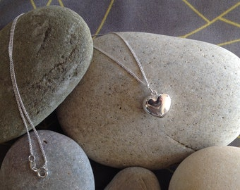 Chunky Sterling Silver Heart on a Sterling Silver Chain with Grey Gift Box,End of Year Gift,Quick Postage