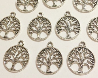 10 Antique Silver Tree Circle Charms
