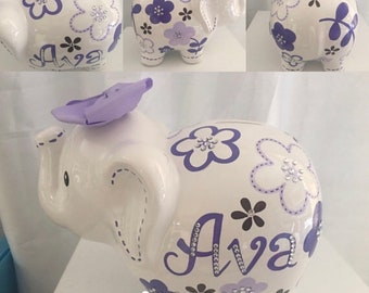 Personalized Handpainted Large Purple/Gray Flower elephant Piggy Bank Newborns , Birthday,Girls,Flower Girl,Baby Shower Gift Centerpiece