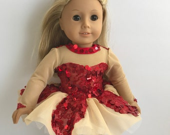 Gorgeous Red Sequins Ballet Costume Set - Designed to Fit an American Girl Sized  Doll