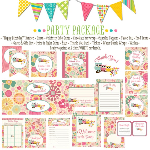 rustic baby girl shower owl floral chic baby shower party package banner wishes for baby cupcake toppers thank you card 1352 katiedid design