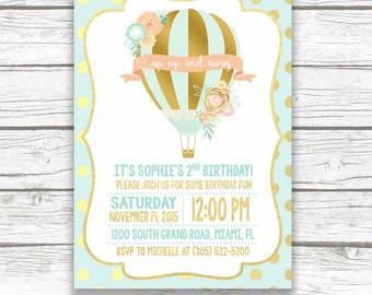 Hot Air Balloon Invitation, Hot Air Balloon Birthday Invitation, Birthday Invitation Girl, Floral First 1st Birthday Invite, Printable