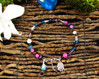 Bracelet Amethyst ethnic anklet, wood, apatite, quartz, silver and feathers