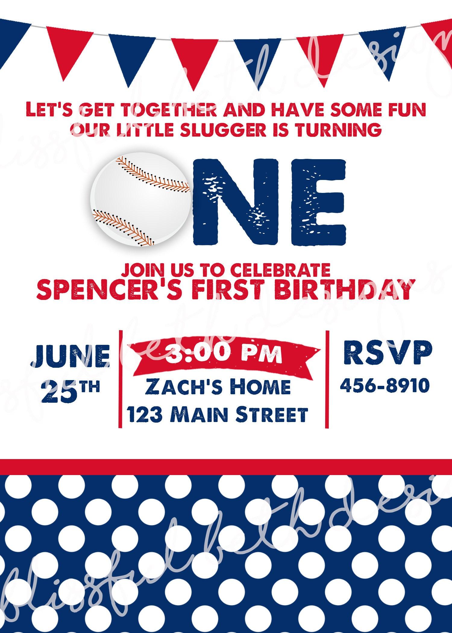 LITTLE SLUGGER INVITATION Baseball First Birthday Invitation ...