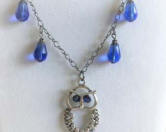 Owl pendant necklace etsy silver owl pendant necklace sapphire blue necklace silver antique silver jewelry blue drop dangle earrings gift for owl lovers aloadofball Gallery