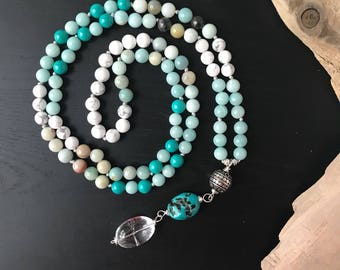 Amazonite and Turquoise Mala Bead Necklace, 108 Yoga knotted Necklace, Buddhist Necklace, Japa Mala, Meditation Gifts,Wife Gifts