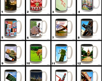Full Color 15 oz. Ceramic Coffee Mug with original Austin, Texas photography.  Pick any one. 16 to choose from.