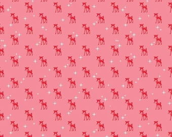 Cozy Christmas Reindeer on Pink Cotton Woven, by Riley Blake