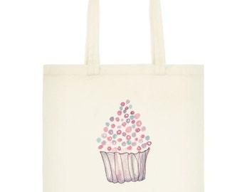 Watercolor Cupcake Reusable Grocery Bag