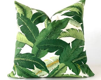 26x26 OUTDOOR Tropical pillow cover, Banana leaf pillow cover, swaying palm pillow cover, outdoor throw pillow, green pillow cov