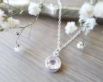 Rose Quartz, Necklace, Sterling Silver, Simple, Stone Necklace, Faceted Rose Quartz, Genuine Rose Quartz, Pink Quartz, Soft Pink, Minimalist