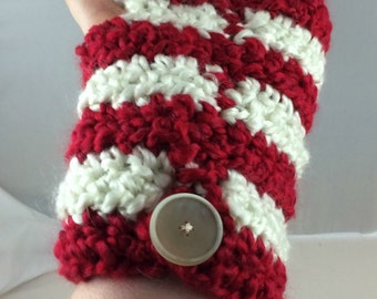 Red and White Striped Crocheted Wrist Warmers (size M-L) (SWG-WW-MH13)