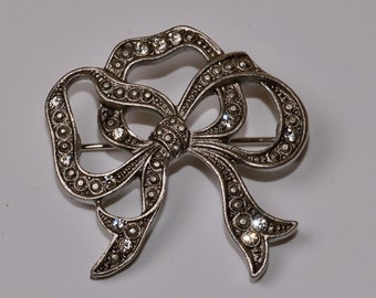 Bow Brooch Vintage Marcasite Bow Pin with Rhinestones