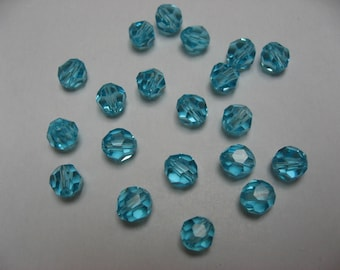 Crystal pierced pearls with facets, turquoise, 6 mm (x 120)