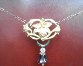 Gold plated Art Nouveau necklace with dangling beads and openwork Lily pattern