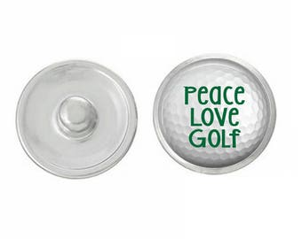 Peace Love Golf Snap Pair with our Base Pieces - Compatiable with GingerSnaps and Magnolia and Vine Pieces - HandPressed Snaps