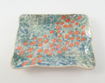 Unique ceramic dinnerware, Sushi Plate, Tapas plate, Ceramic Dish, Stoneware Plate, Trinket Dish, Handbuilt plate, Hostess Gift, Fish Plate