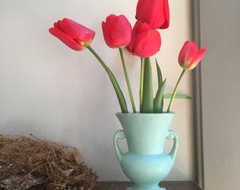 Vintage Turquoise Urn, Upright vase with handles