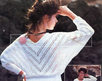 Lady's Lace Dolman Sweater 32-40in DK Patons 7273 Vintage Knitting Pattern PDF instant download