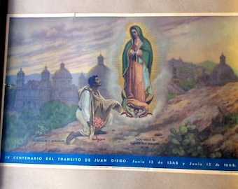 1948 Lithograph Print St. San Juan Diego Our Lady of Guadalupe Printed in Mexico