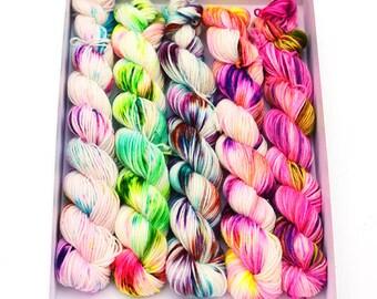 Hand dyed mini skeins sock yarn - random assortment