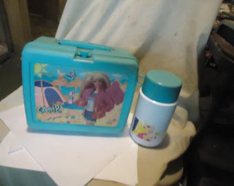 Vintage 1993 Camp Barbie Plastic Lunch Box With Thermos, Lunchkit, collectable
