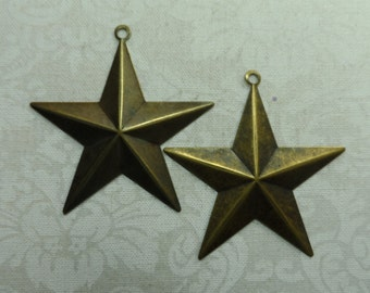 "Large vintage gold plate brass stamped stars,1&1/2"",2pcs-KC317"