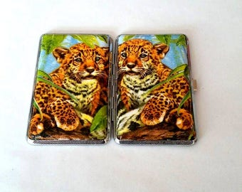 Metal cigarette case  with panthers 100 mm slims, Cigarette case  with panthers, Cigarette case 100 slims, With panther, Smoking cigarette,