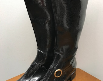 Vintage Eskiloos Black Patent Look Rubber Tall Boot Size 8