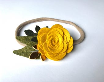 Felt Flower Headband | Mustard & Metallic Gold