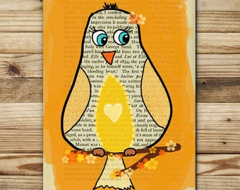 Greeting card funny for kids - yellow bird - FSC paper, made in Provence, France
