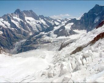 Poster, Many Sizes Available; Switzerland Mountains Schreckhorn Lauteraarhorn Glaciers