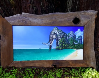 RW2 Original Migration of Mountains by Robert Walker painting surreal  lowbrow outsider art elephant island redwood frame