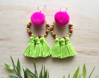 Tribal Tassel Dangles - gift for her, bold earrings, statement earrings, boho jewellery