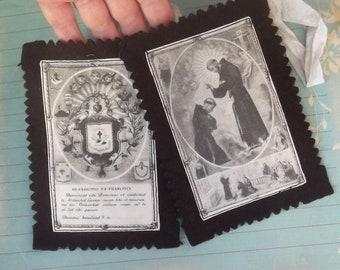 Large Vintage Scapular 14 cm x 10 cm Religious Relics Catholic Devotional Scapulary Ex Voto