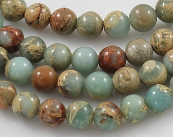 NATURAL AFRICAN OPAL Sea Sediment Jasper Beads smooth round sizes 4mm, 6mm, 8mm, 10mm, 12mm- In Full 15.5 inch Strand- Wholesale Pricing
