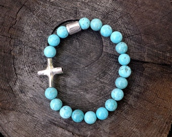Men's Cross Bracelet, Christian Jewelry, Sterling Silver Cross, Husband Gift, Turquoise Magnesite Beads, Christian Gift, Fathers Day Gift