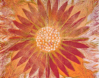 Drinks coasters, Sunrise Flower Design, lino cut design, floral coaster, red and orange design.