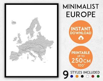 Minimalist Europe map print, Europe print, Europe map, Europe poster, Europe wall art, Map of Europe, Europe art print, Europe gift