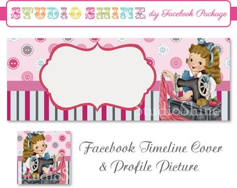 DIY Facebook Cover Package - Facebook Timeline Cover and Profile Picture - Sew Pretty - Blog or Website Banner Digital Instant Download