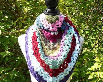 Multicolored hand crocheted wool shawl