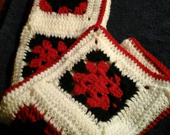 Crochet Granny square carseat blanket, red, white and black