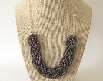 Charcoal Gray Beaded Braid Necklace