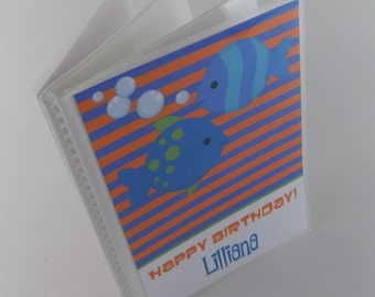 Fish Photo Album Birthday Photo Album Boy Photo Album Girl Photo Album Orange Blue Party Gift Grandmas Brag Book 4x6 or 5x7 picture 667