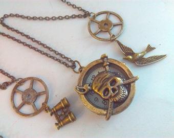 HALLOWEEN SKULL Steampunk necklace, quartz watch, pirate watch pendant, steampunk, skull watch, skull necklace, skull and crossbones #11