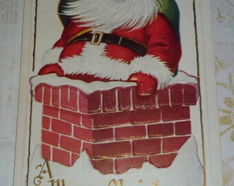 Jolly Santa Claus Going Down the Chimney Vintage  Unused Christmas Postcard