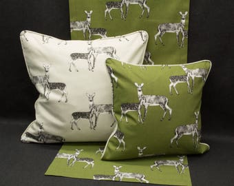 Pillow Case/upholstery with roe deer, green/beige, 40 x 40 cm