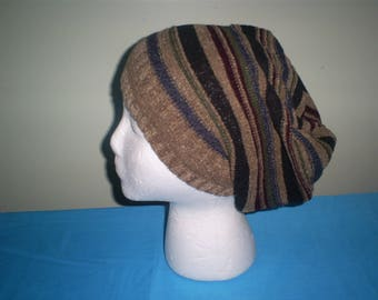 Recycled, upcycled, sweater, slouchy  hat.
