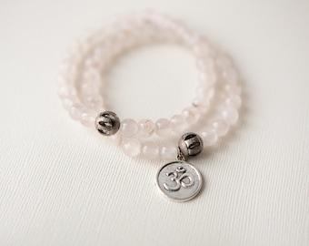 Pink Quartz Bracelet, Pink Bracelet, Pink Quartz Jewelry, Bohemian Bracelet, Om Bracelet, Natural Stone Bracelet, Om Jewelry, Trending