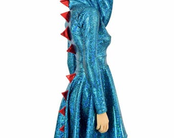Turquoise Shattered Glass Long Sleeve Hoodie Skater Dress with Dragon Tail Hemline, Red Sparkly Jewel Spikes & Hood Liner - 154911